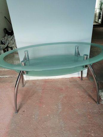 Stół owalny szklany podwójny blat