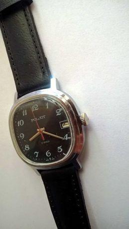 Poljot z datownikiem czarna tarcza męski mechaniczny zegarek