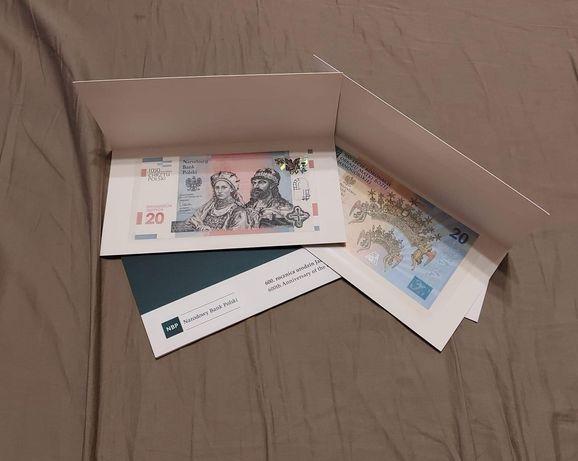 Zestaw 5 banknotów kolekcjonerskich NBP:Chrzest Polski, Długosz i inne