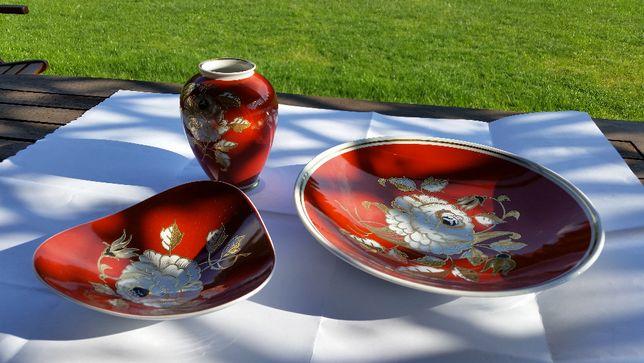 Złocony komplet Wallendorf 1764 Goldrelief handgemalt porcela
