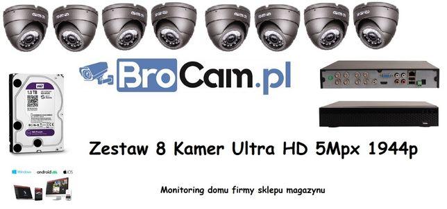 Zestaw 4 kamer 5mpx UHD monitoring 4-16 kamery montaż kamer Biłgoraj