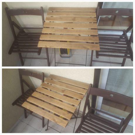 Stolik z krzeslami- składane. Oferta ważna do końca miesiąca!