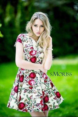 Sukienka Rozkloszowana Biała w Kwiaty S.Moriss! Rozmiar XS 34
