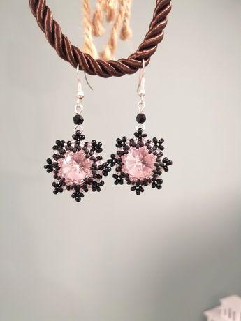 Kolczyki różowo czarne beading