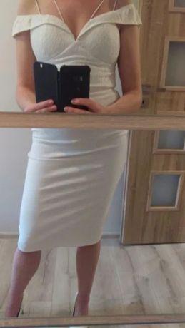 Biała sukienka elegancka dopasowana wesele rozmiar S