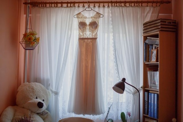 Suknia ślubna r. 32/34, styl rustykalny,inspiracja modelem Irezumi