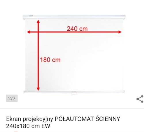 Ekran projekcyjny półautomat ścienny/sufitowy 240x180cm EW