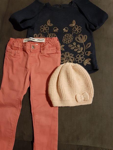Zestaw bluza spodnie jeansowe czapka wiosenna 92/98