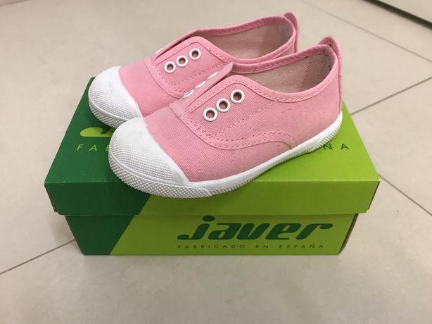 Ténis de lona menina rosa Javer