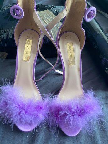 Szpilki sexy   futerko buty sandały lilia liliowe