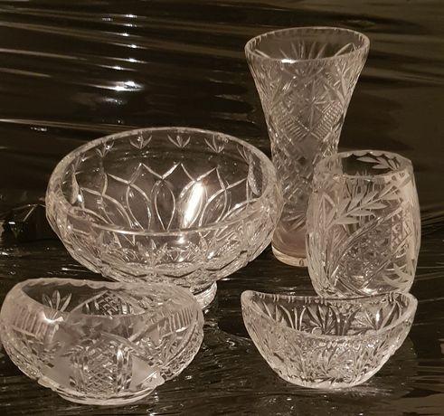 Krysztaly zestaw. Misa popielinczka wazon krysztaly