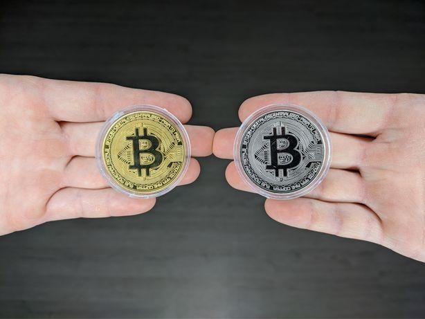 ОПТ Золотая / серебряная монета Bitcoin - Биток, Биткоин - Купить