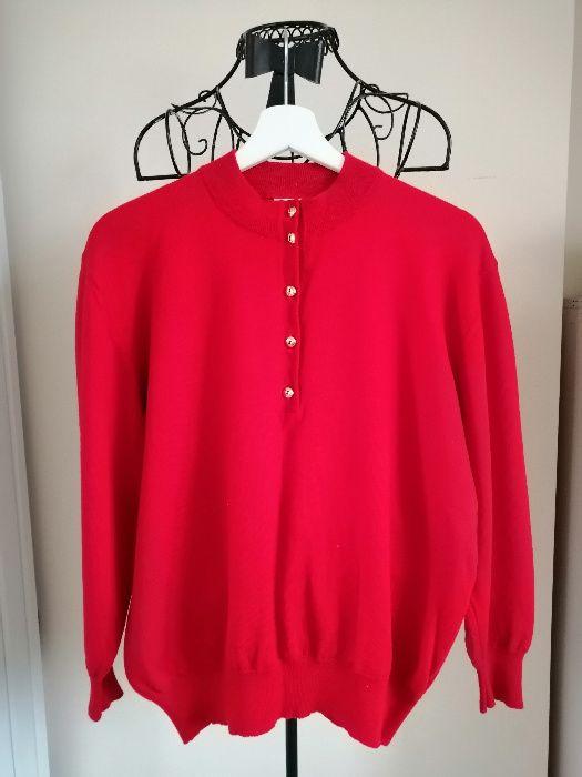 Sweterk czerwony ze złotymi guzikami, rozmiar 46 Poznań - image 1