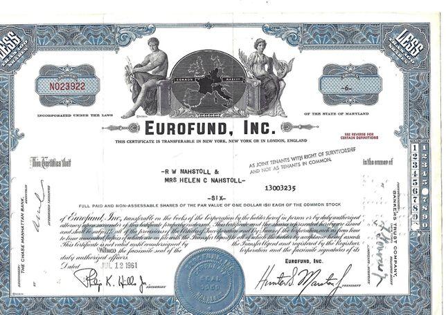 Bonds Shares Ações Eurofund, Inc 1961 USA
