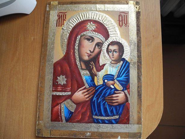 Икона Богородицы с младенцем, масло, фанера, 21х29 см.