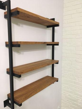 Regał na książki, indywidualny, loft, dąb, drewno metal