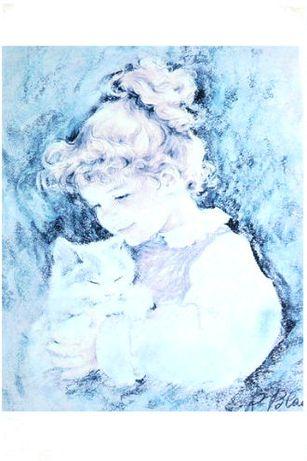Dziewczynka z kotkiem cudny obraz za szkłem