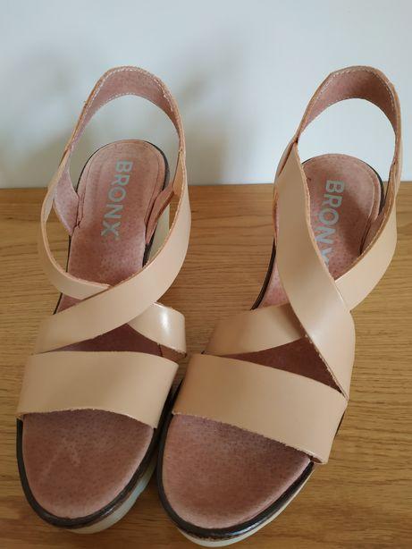 Sandały beżowe , skórzane NOWE(wysyłka gratis!)