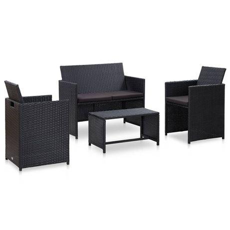 vidaXL 4 pcs conjunto lounge de jardim c/ almofadões vime PE preto 46390