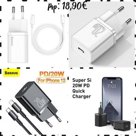 Carregador iPhone Séries 11 / 12 Quick charge -20w- Baseus-Novo- 24h