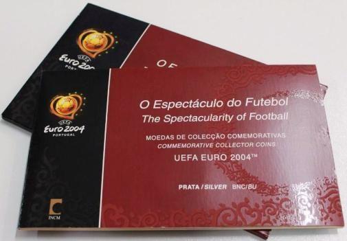 8€ Prata Carteira com 3 moedas Campeonato Europeu de Futebol 2004