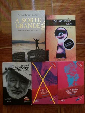 """Livros variados """"A Sorte Grande"""", """"Ernest Hemingway"""", etc"""