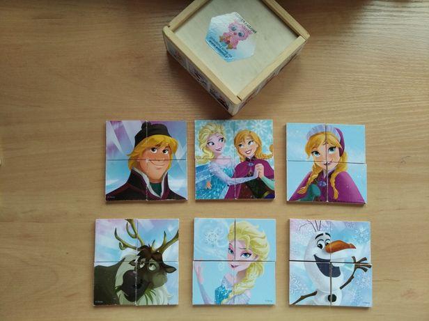 Puzzle drewniane 6 obrazków Kraina Lodu
