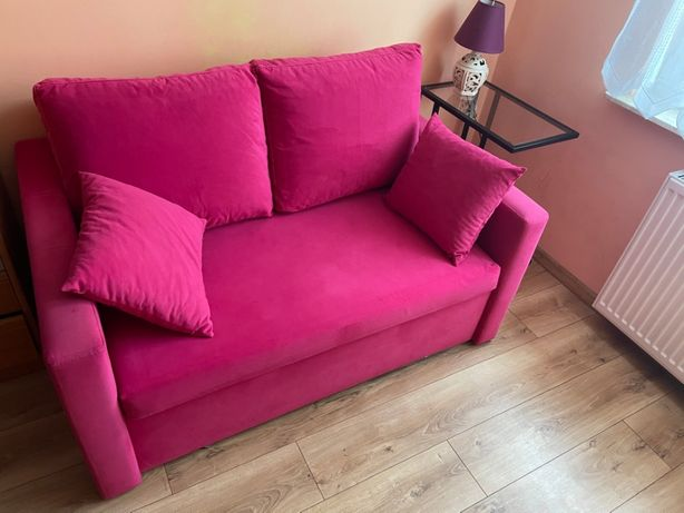 Sofa rozkładana z funkcją spania różowa welur