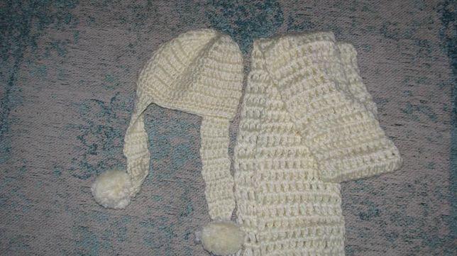 czapka + szalik koloru ecru