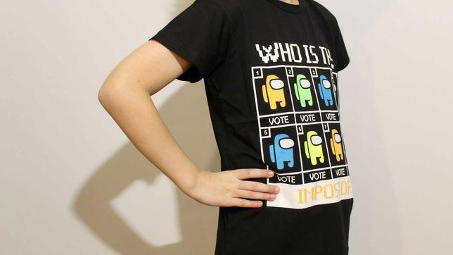 Czarna dziecięca koszulka/T-shirt Among Us r.146