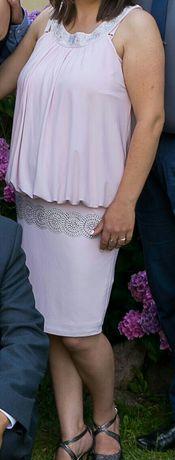 Sukienka koktajlowa rozmiar 38 pudrowy róż