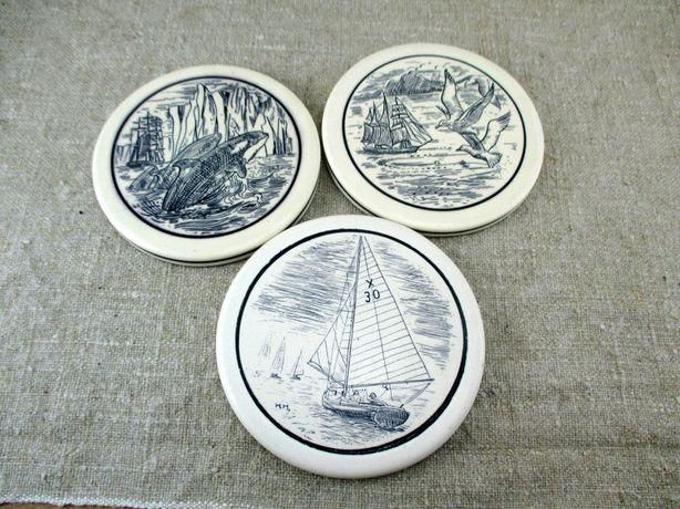 3szt. ceramiczne podstawki z morskimi motywami, okrągłe podstawki