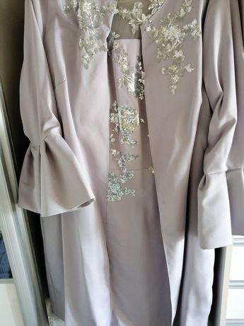 Garsonka komplet sukienka i płaszcz wesele