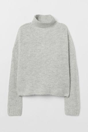 Новый серый джемпер свитер кофта лонгслив оверсайз шерсти альпака H&M