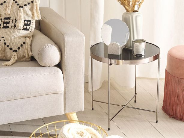 Mesa de apoio ø 40 cm preta e prateada LUCEA - Beliani