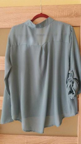Cienka, elegancka bluzka szaroniebieska