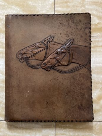 Старинная колекционная кожаную папка, антик, антиквариат