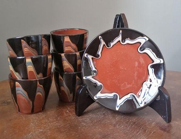 Bułgarska ceramika ludowa, czarki ręcznie malowane.
