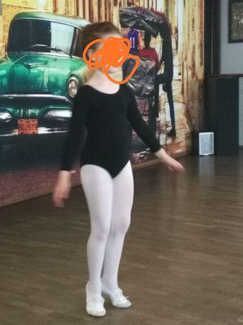Czarne body baletowe taneczne gimnastyczne Shepa r. 128 rękaw 3/4