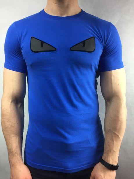 Fendi T-shirt Koszulka Niebieska S/L/XL Prezent dla niego 100%