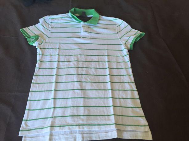 polo branco e verde tamanho m
