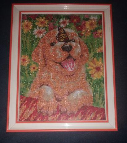 Картина  из бисера щенок