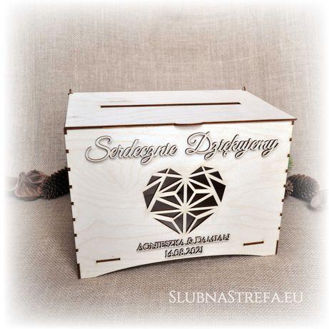 skrzynka pudełko na koperty ślub wesele dowolny napis