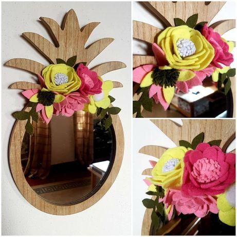 Espelho com toque floral - Rosa e Amarelo