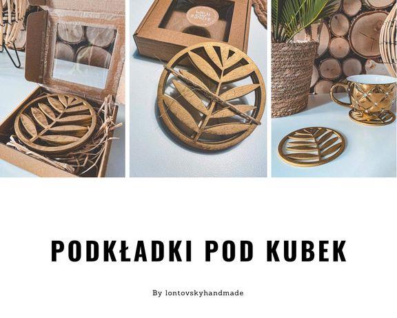 Drewniane złote podkładki pod kubek lub filiżankę 4 sztuki