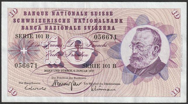 banknot Szwajcaria 10 franków 1977 - seria 101 B
