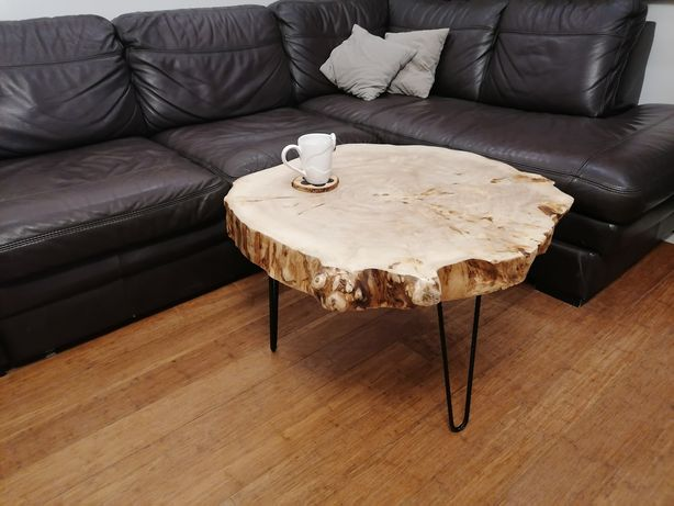 Stolik drewniany, stół, topola, plaster, rustykalny, duży kawowy, loft