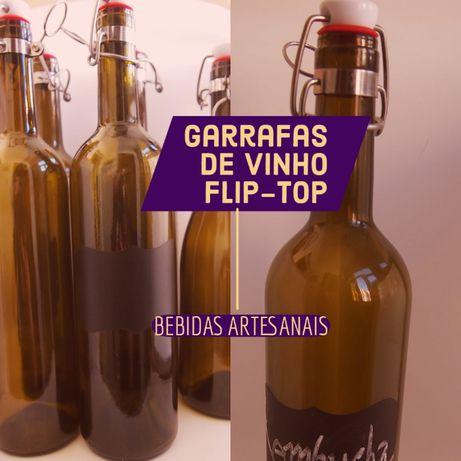 2 Garrafas de vinho recicladas para Kombucha, Craft Beer, 75cl