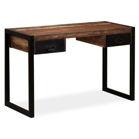 Czarne biurko drewniane industrial drewno odzyskane loft