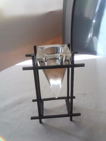 porta velas pequeno - vidro e ferro